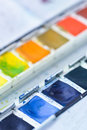 Water colors rrows of pigmentation with blur Stock Photo