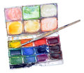 Water Colour Paint Box And Brush Royalty Free Stock Photo