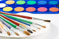 Water colour paints and brushes Stock Photography