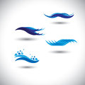 Water concept vector - set of flowing blue wave lines Royalty Free Stock Images