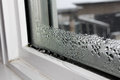 Water condensation on windows during winter Royalty Free Stock Photo