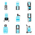 Water cooler items flat icons set Royalty Free Stock Photo