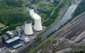 Water cooling towers view from the aircraft Royalty Free Stock Photos