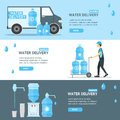 Water Delivery Service Banner Flat . Vector