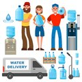 Water delivery service man character in uniform and different water bottle vector elements.