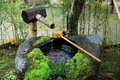 Water dipper at the Japanese temple Royalty Free Stock Photo