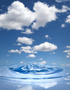 Water drop against blue sky Royalty Free Stock Photo