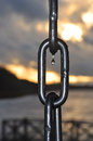 Water drop on an anchor chain. Royalty Free Stock Photo