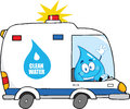 Water drop character driving clean water van happy Stock Photos