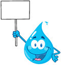 Water drop character holding up a blank sign Royalty Free Stock Photos