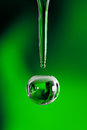 Water drop on green background macro sot of a Royalty Free Stock Photo