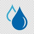 Water drop icon in flat style. Raindrop vector illustration on i