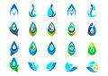 Water drop,logo,hand care,garden,nature,oil,healthy,plant,ecology and water symbol design icon set Royalty Free Stock Photo