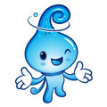 Water drop mascot the direction of pointing with both hands nat nature character design series Royalty Free Stock Photography