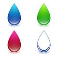 Water drop set multicolored collection over white Royalty Free Stock Images