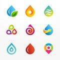 Water drop symbol vector logo icon set Royalty Free Stock Photo
