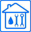 Water drop and wrench in house repair plumbing symbol with on home Stock Image