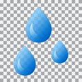 Water droplets on transparent background. Vector illustration