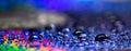 Water drops beads like rainbow Royalty Free Stock Photo
