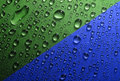 Water drops green blue texture Stock Photos