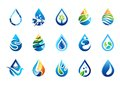 water drop logo, set of water drops symbol icon, nature drops elements vector design