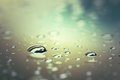 Water drops on surfeace after rain, selective focus, process in Royalty Free Stock Photo