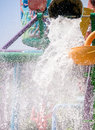 Water dumped huge amount of in the family fun park Royalty Free Stock Image
