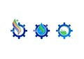 Water ecology gear vector logo icon Royalty Free Stock Photo