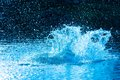 Water explosion beautiful splash of blue to drink Stock Image