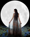 Water fairy walking into the moon Royalty Free Stock Images