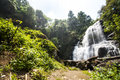 Water fall in spring season located in deep rain forest jungle. Stock Photos