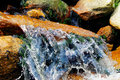 Water falling over a rock cascading in peak district stream in derbyshire Stock Image