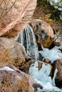 Water falls melting the recent snow fall Royalty Free Stock Photo
