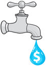 Water faucet with dollar dripping Royalty Free Stock Photo