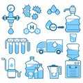 Cleaning supplies, water filtration isolated icons, industrial purification
