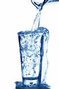 Water is filled into a glass of water Royalty Free Stock Photo