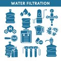 Purification and water filtration system isolated icons, liquid cleaning