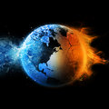 Water fire earths globe separated between and Stock Images