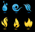 Water and fire glossy icons Royalty Free Stock Photo