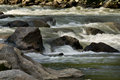 Water flowing over and around rocks swiftly rock in a river in the andes mountains Stock Image
