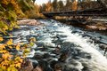 Water flows under bridge surrounded by brilliant fall foliage Royalty Free Stock Photo