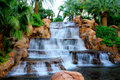 Water flows at the waterfall out front of the mirage hotel casino in las vegas nv Royalty Free Stock Photography