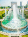 Water fountain in front of arc de triomphe this photo was taken window the world scenic spot shenzhen city china it is Stock Image