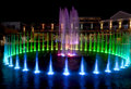 Water fountain in pigeon forge tennessee colorful during the christmas holidays taken at night with long exposure new Stock Images