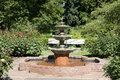 Water fountain in rose garden nice portland test Stock Photos
