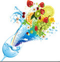 Water and fruits Royalty Free Stock Photo