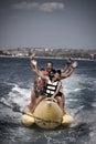 Water funnny sports-banana. Royalty Free Stock Photo