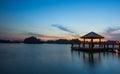 Water Gazebo and Sunset VIII Royalty Free Stock Photo