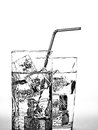 Water Glass,Ice Cubes & Straw Royalty Free Stock Photography