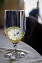 Water glass with lemon slice side view Royalty Free Stock Image